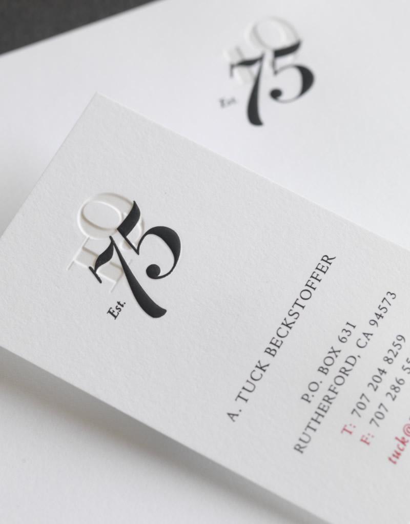 75 Wines Stationery Design