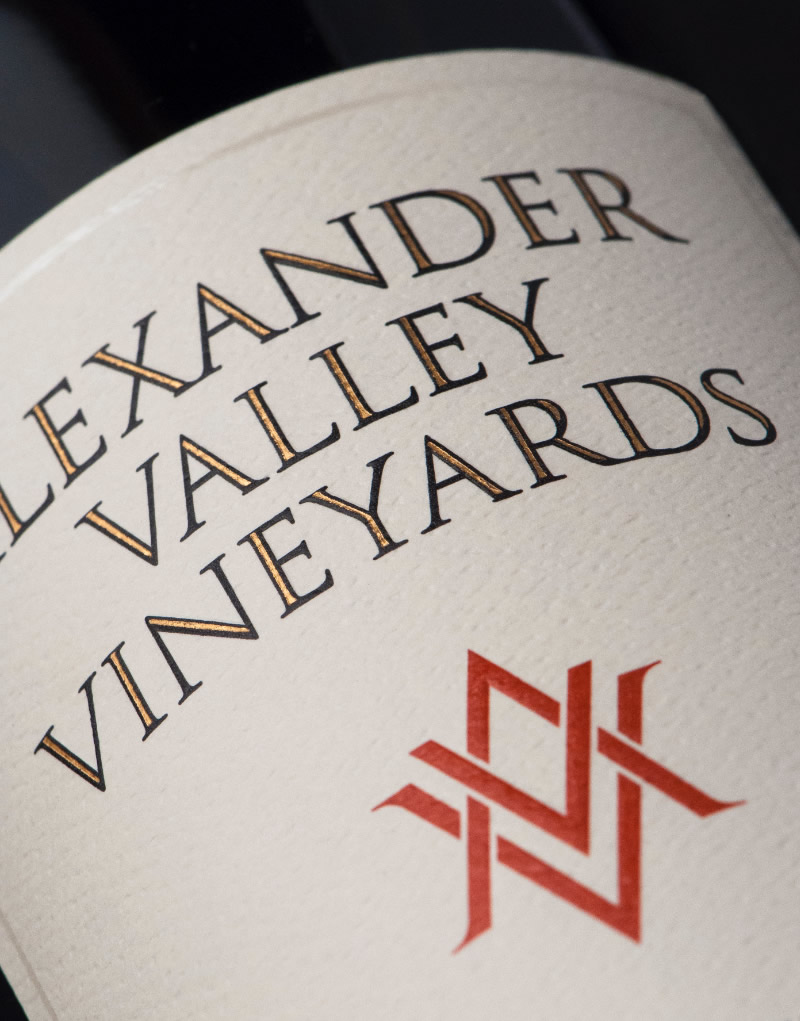 Alexander Valley Vineyards Wine Packaging Design & Logo Label Detail