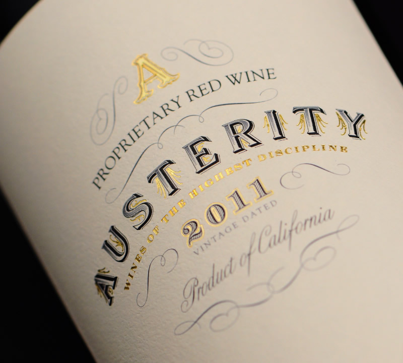 Austerity Wine Packaging Design & Logo Label Detail
