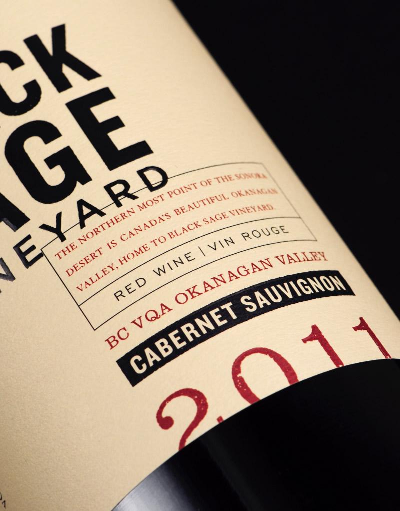 Black Sage Vineyard Wine Packaging Design & Logo Label Detail