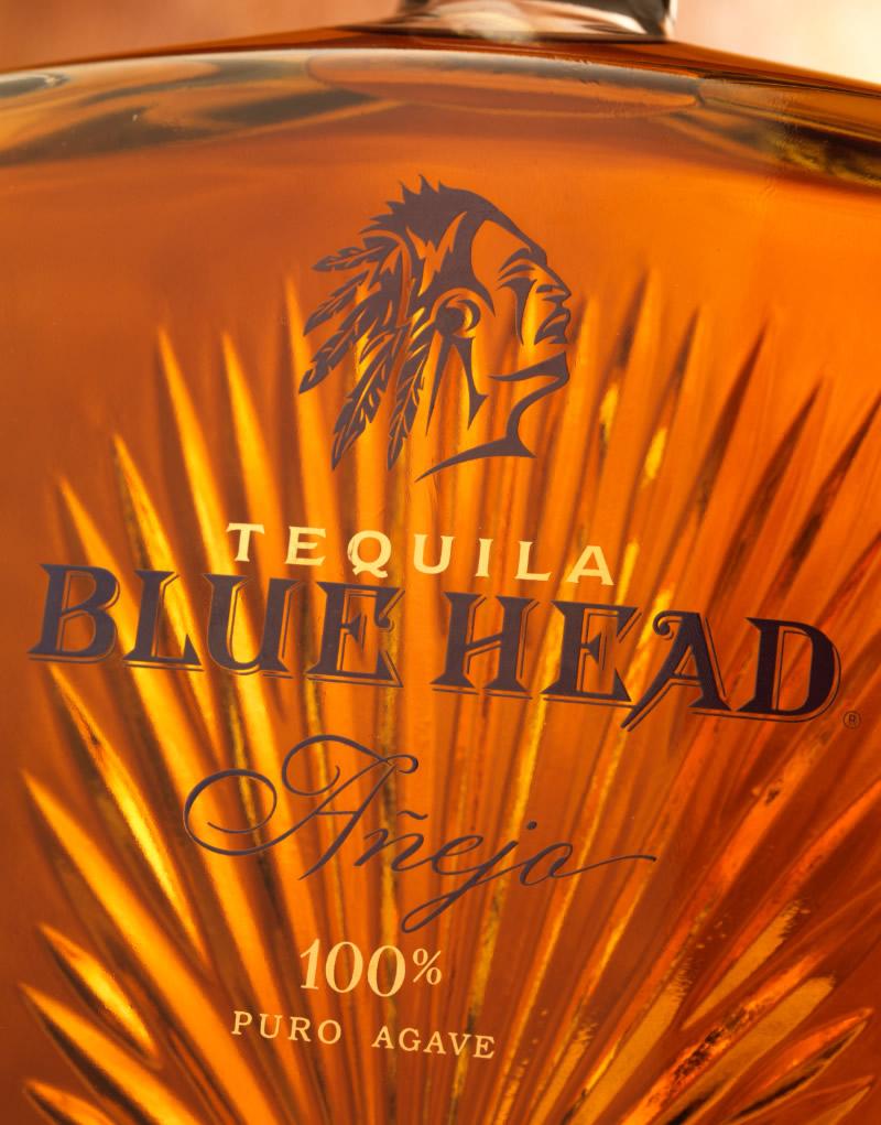 Blue Head Tequila Packaging Design & Logo Bottle Detail