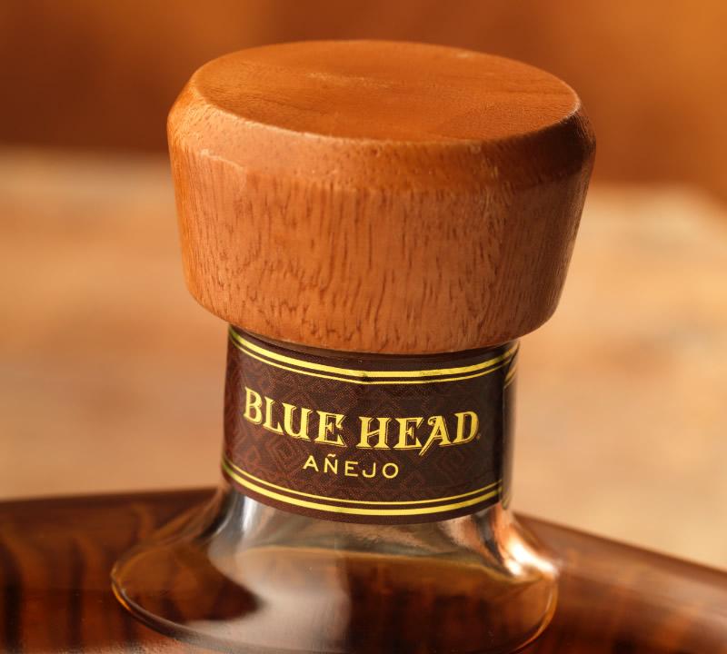 Blue Head Tequila Packaging Design & Logo Closure Detail
