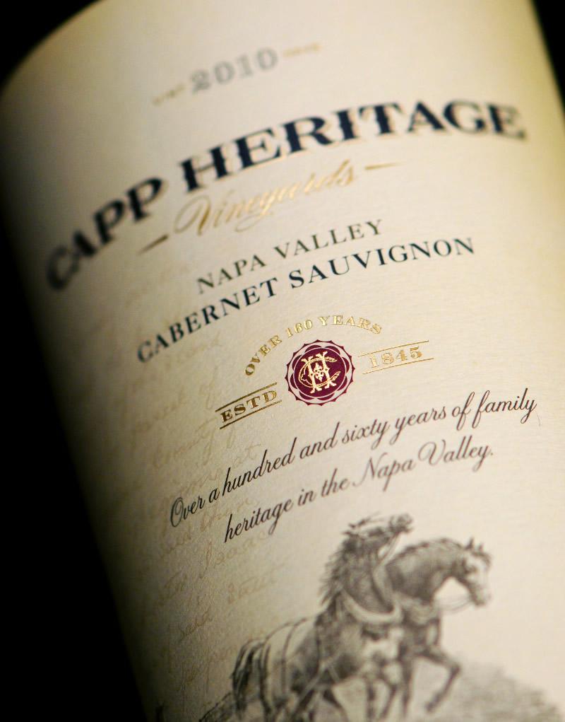 Capp Heritage Vineyards Wine Packaging Design & Logo Label Detail