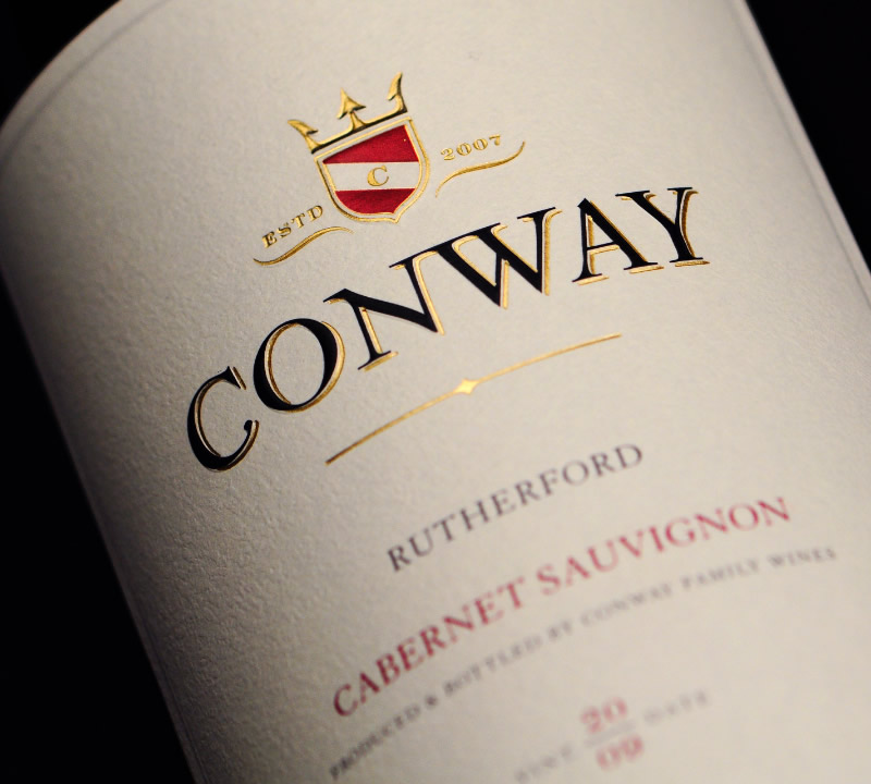 Conway Family Wines Packaging Design & Logo Label Detail