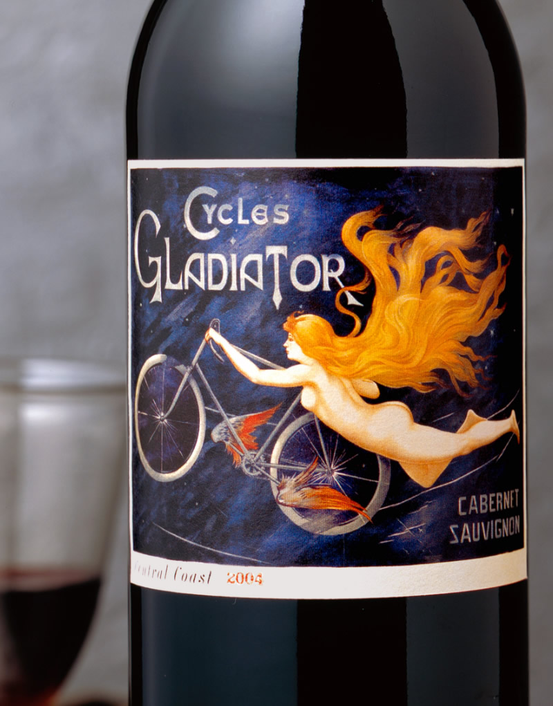 Cycles Gladiator Wine Packaging Design & Logo