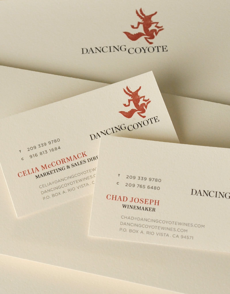 Dancing Coyote Wines Stationery Design