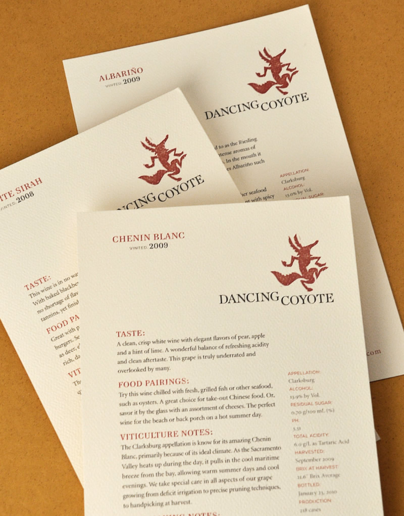 Dancing Coyote Wines Sales Sheet Design