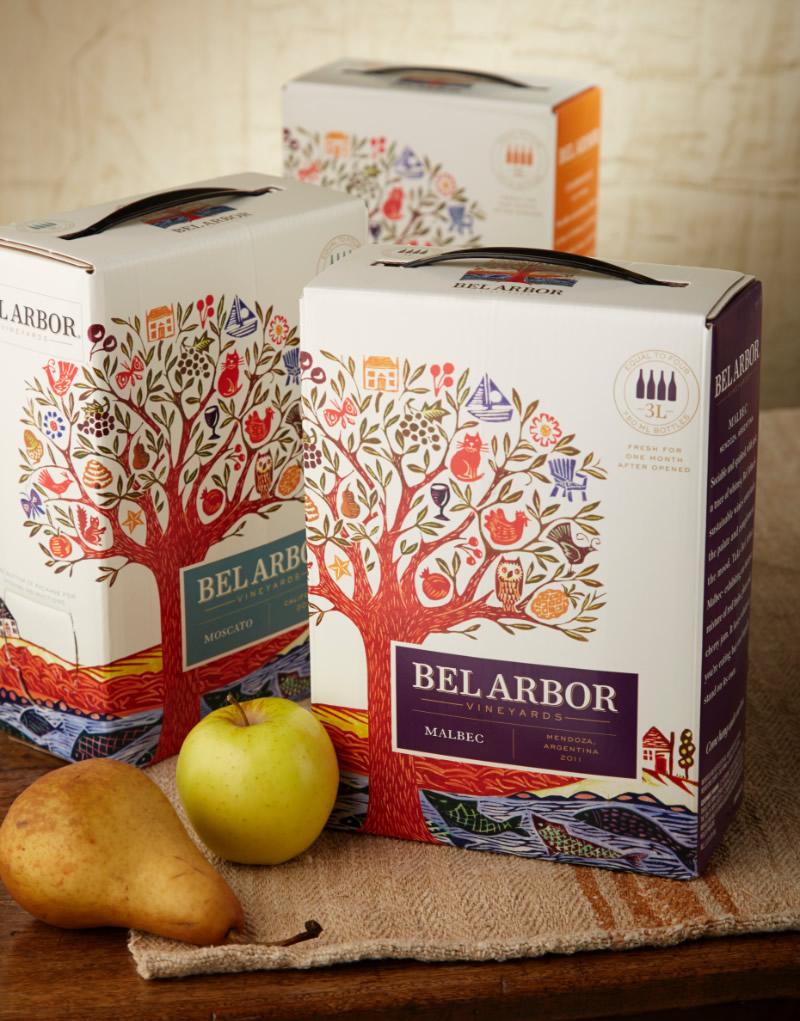 Bel Arbor Wine Packaging Design & Logo Bag-in-Box Format