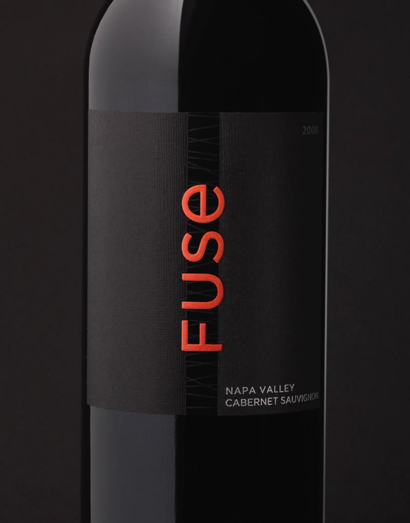 Fuse Wine Packaging Design & Logo Black & Red Label