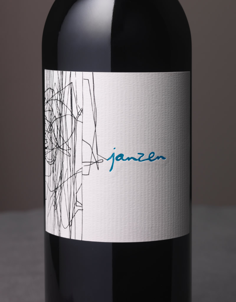 Janzen Wine Packaging Design & Logo Cloudy Vineyard