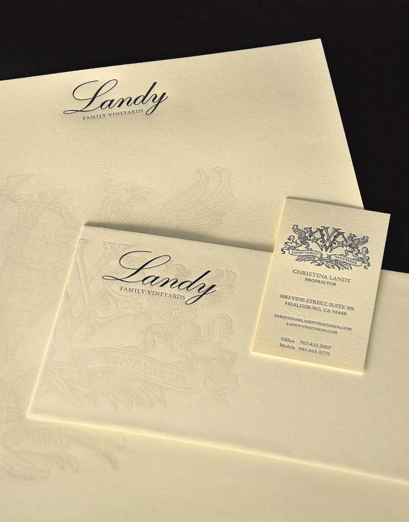 Landy Family Vineyards Stationery Design