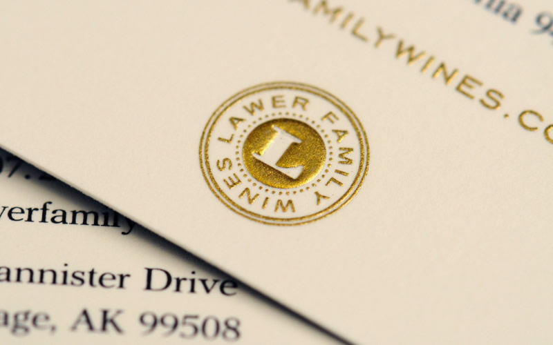 Lawer Family Wines Business Card Design Detail
