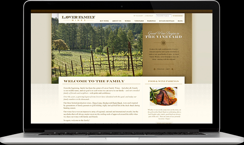 Lawer Family Wine Hompage Website Design