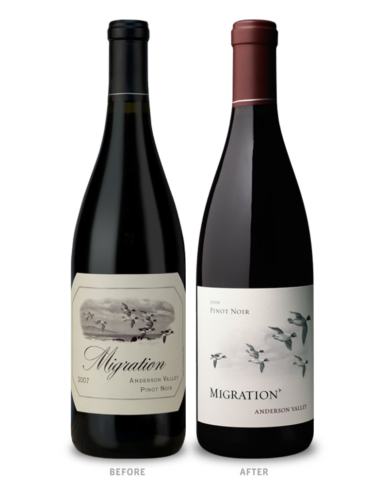 Migration Wine Packaging Before Redesign on Left & After on Right