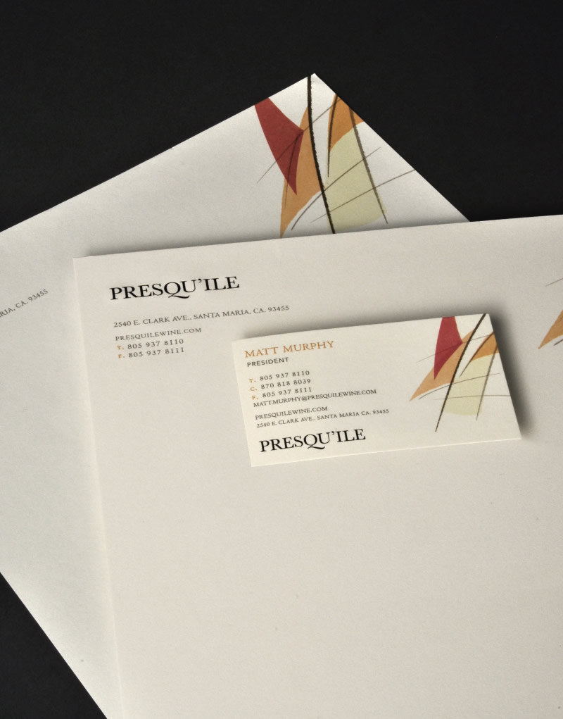 Presqu'ile Wine Stationery Design