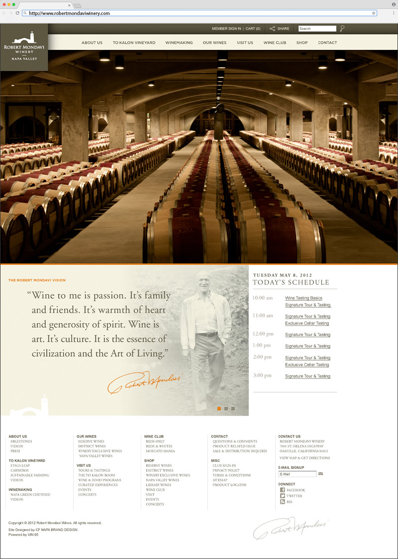 2-Robert Mondavi Winery Homepage Website Design