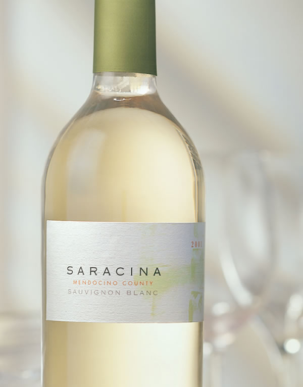 Saracina Vineyards Wine Packaging Design & Logo White Wine