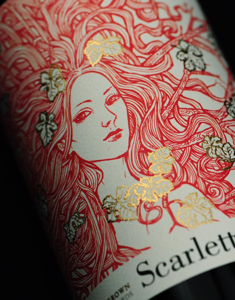 Scarlett Wine Packaging Design & Logo Label Detail