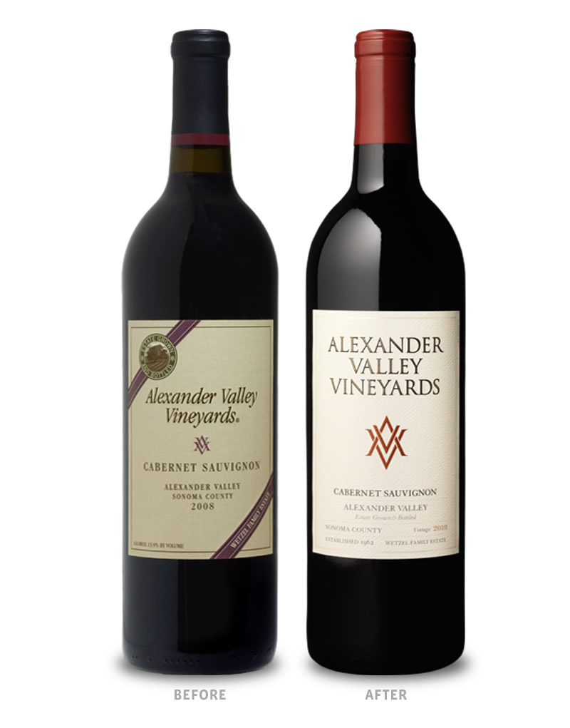 Alexander Valley Vineyards Wine Packaging Before Redesign on Left & After on Right