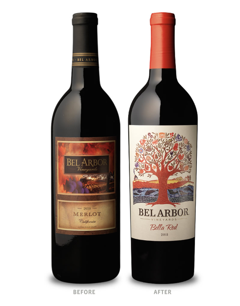 Bel Arbor Wine Packaging Before Redesign on Left & After on Right
