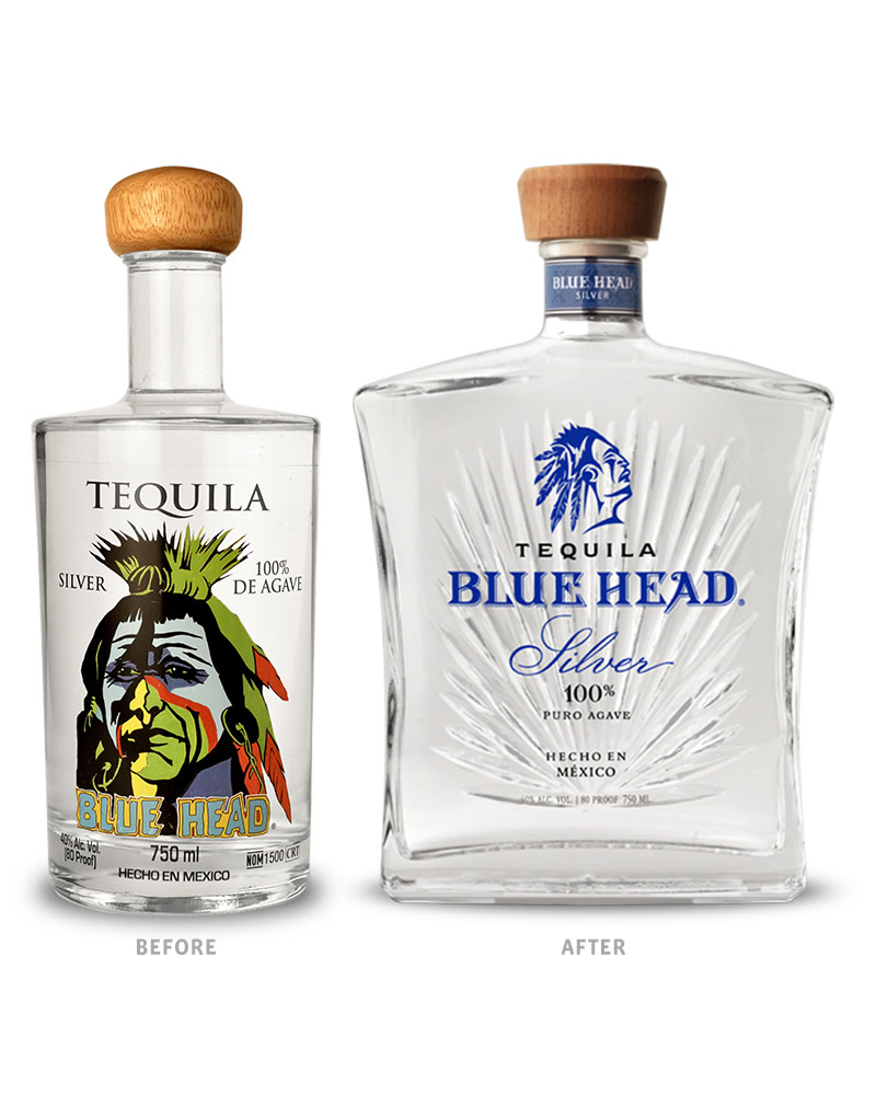 Blue Head Tequila Packaging Before Redesign on Left & After on Right