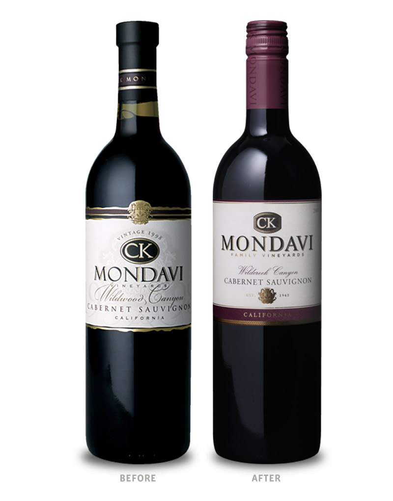 CK Mondavi Wine Packaging Before Redesign on Left & After on Right