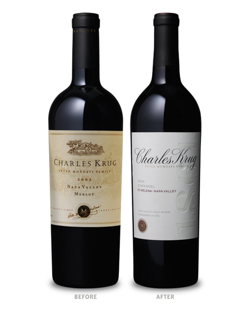 Charles Krug Wine Packaging Before Redesign on Left & After on Right
