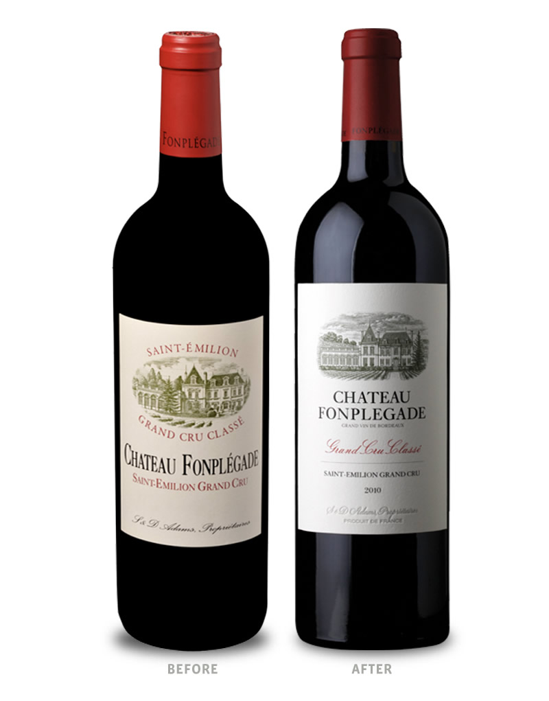 Château Fonplégade Wine Packaging Before Redesign on Left & After on Right