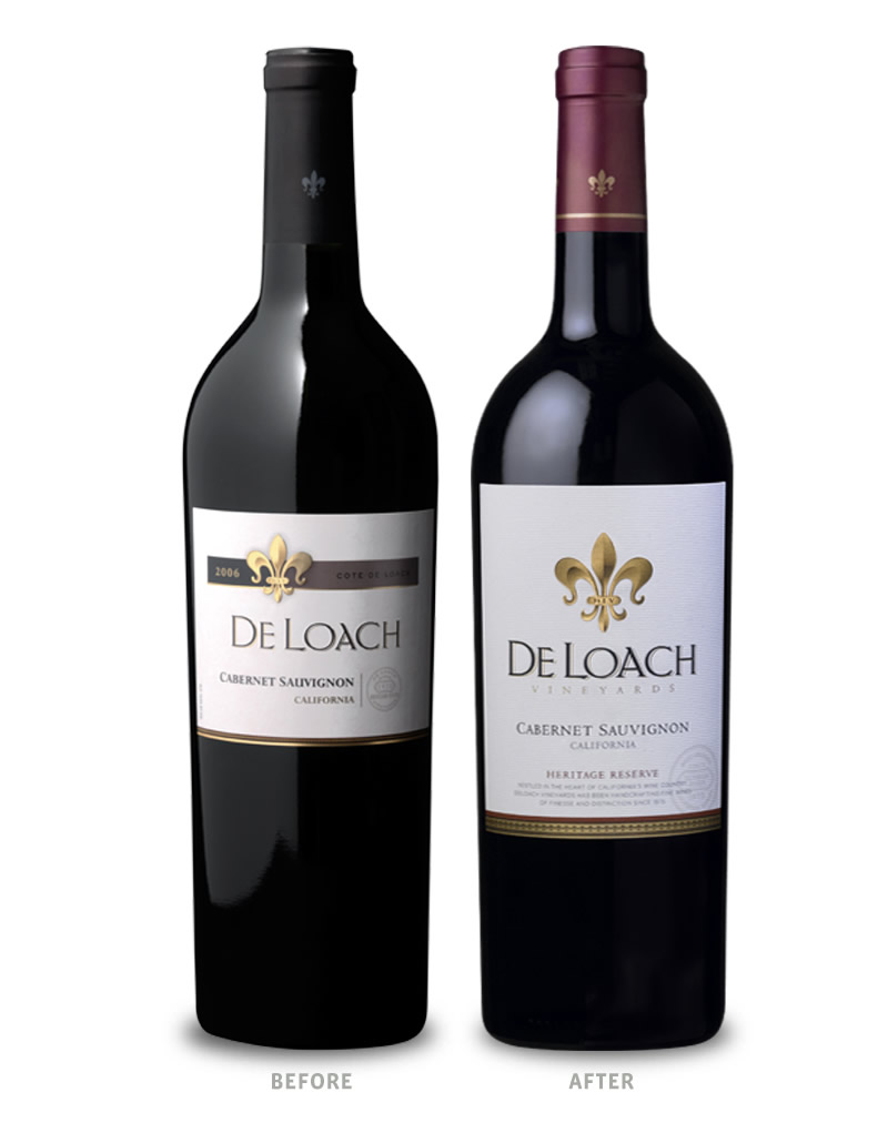 DeLoach Vineyards Wine Packaging Before Redesign on Left & After on Right