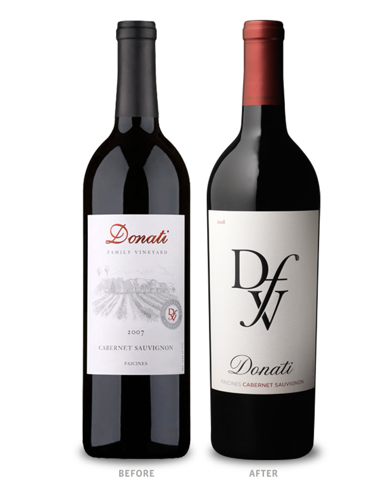 Donati Family Vineyards Wine Packaging Before Redesign on Left & After on Right