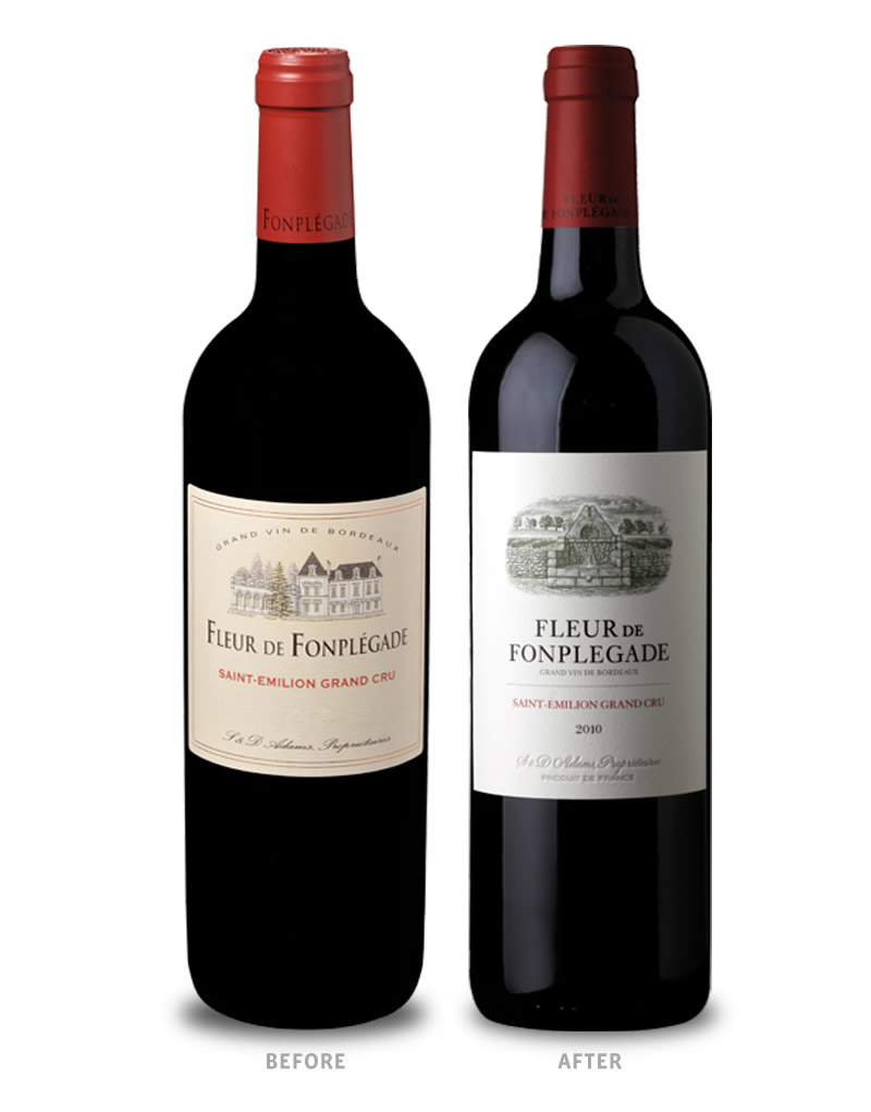 Fleur de Fonplégade Wine Packaging Before Redesign on Left & After on Right