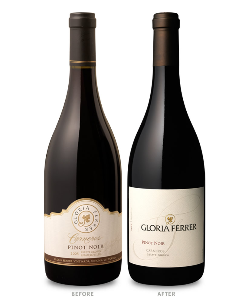 Gloria Ferrer Pinot Noir Packaging Before Redesign on Left & After on Right