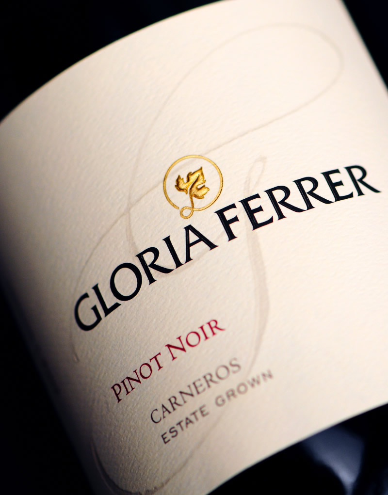 Gloria Ferrer Wine Packaging Design & Logo Pinot Noir Label Detail