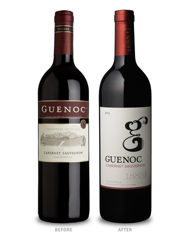 Guenoc Wine Packaging Before Redesign on Left & After on Right