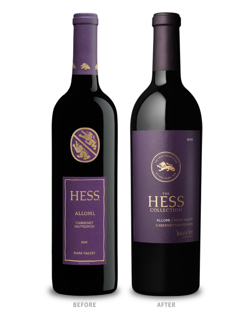 Hess Collection Wine Packaging Before Redesign on Left & After on Right Allomi