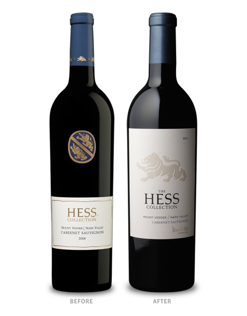 Hess Collection Wine Packaging Before Redesign on Left & After on Right Mt Veeder Wine