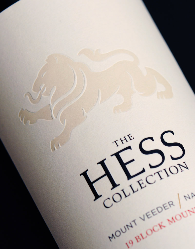 The Hess Collection Wine Packaging Design & Logo Label Detail
