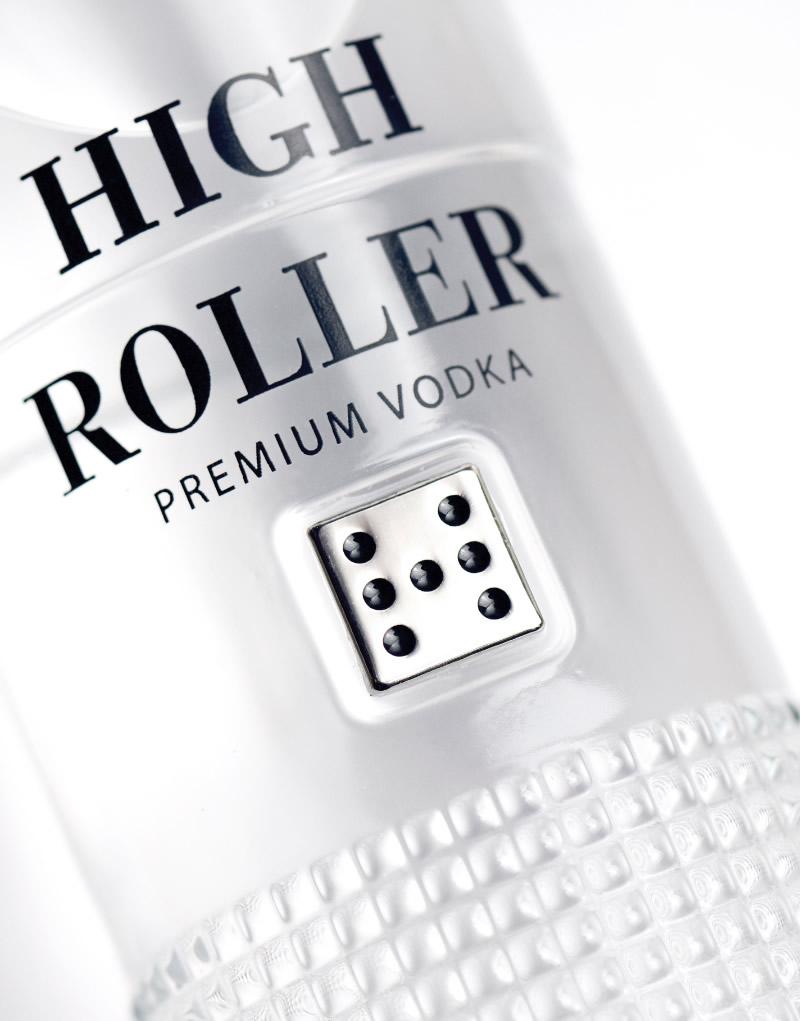 High Roller Vodka Packaging Design & Logo Bottle Detail