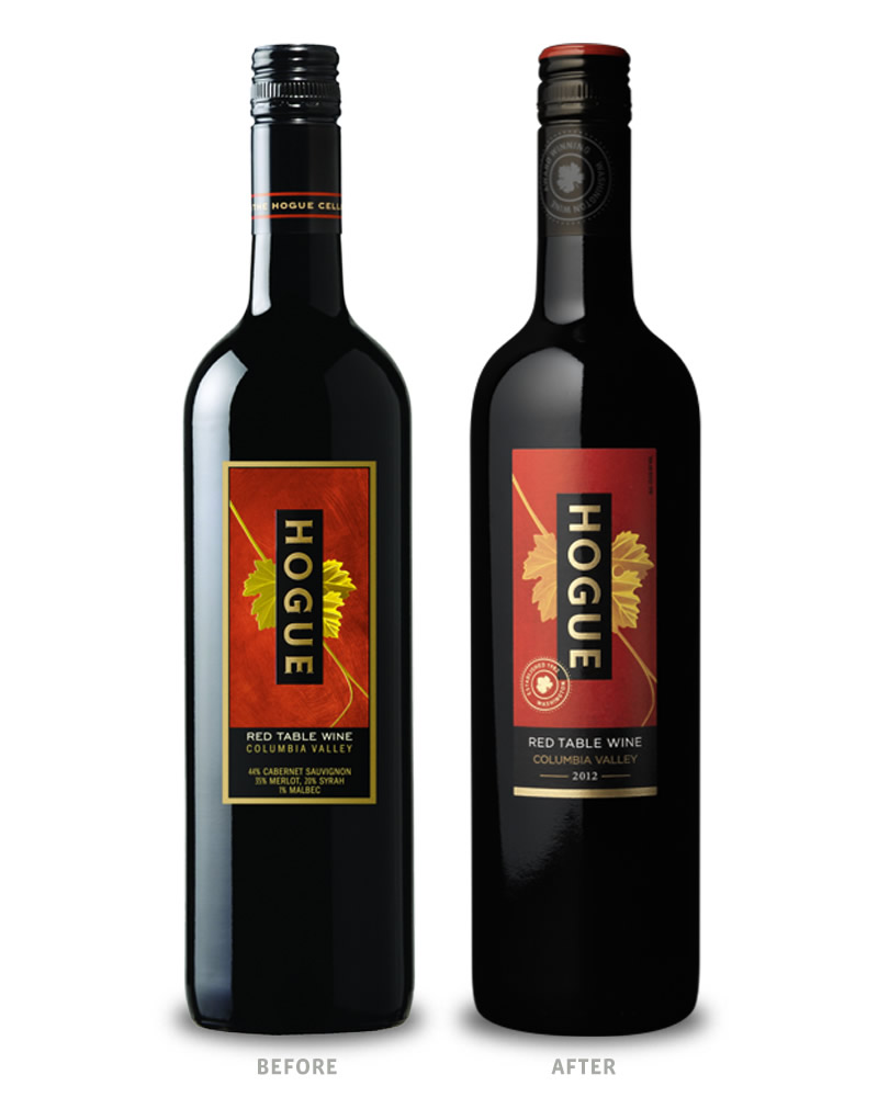 Hogue Cellars Wine Packaging Before Redesign on Left & After on Right