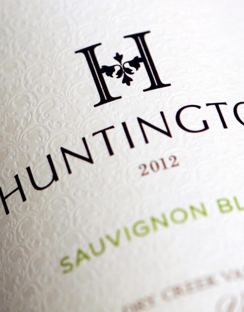 Huntington Wine Packaging Design & Logo Label Detail