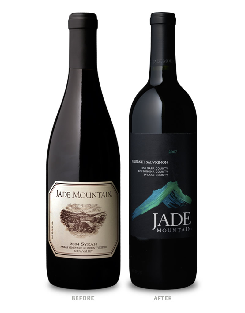Jade Mountain Wine Packaging Before Redesign on Left & After on Right