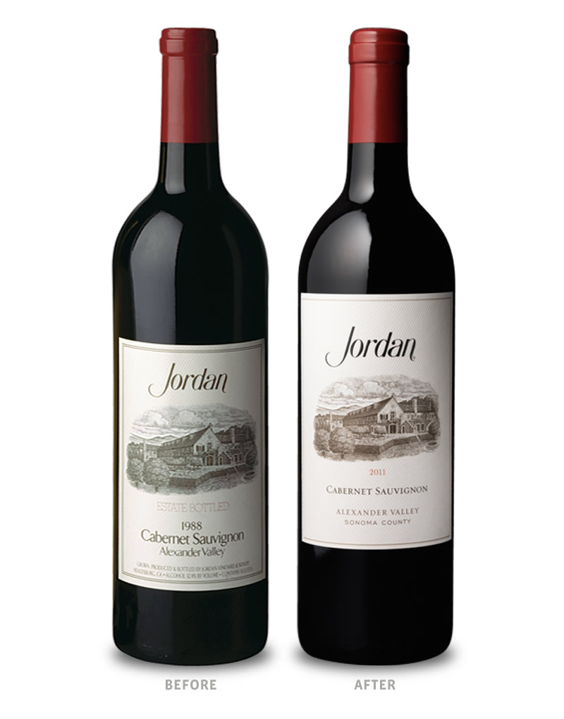Jordan Winery Packaging Before Redesign on Left & After on Right
