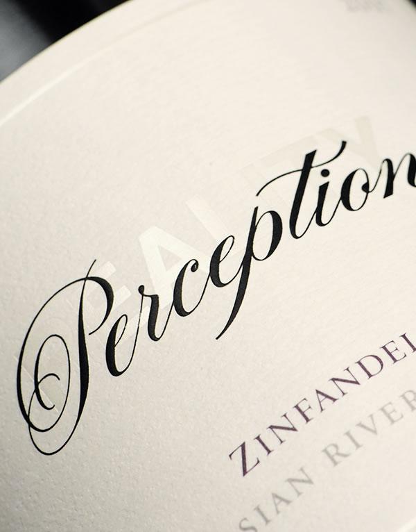Perception Wine Packaging Design & Logo Label Detail