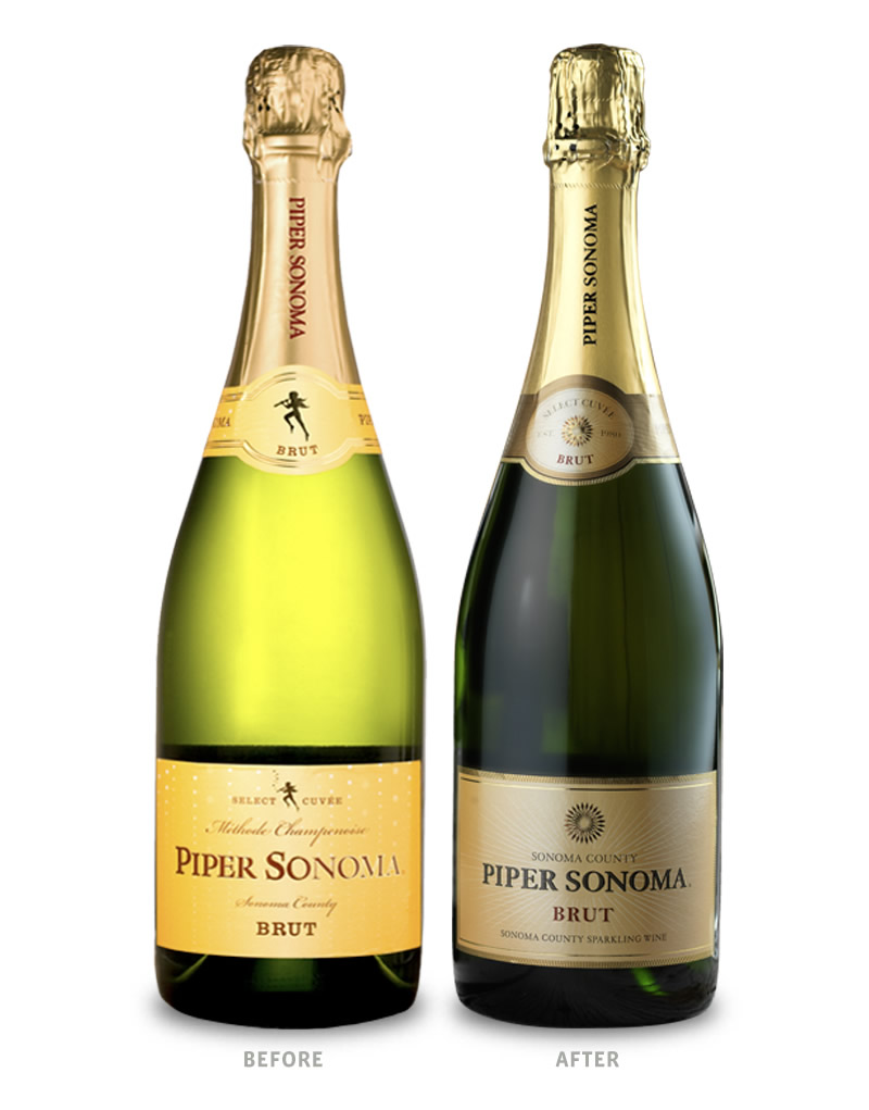 Piper Sonoma Wine Packaging Before Redesign on Left & After on Right