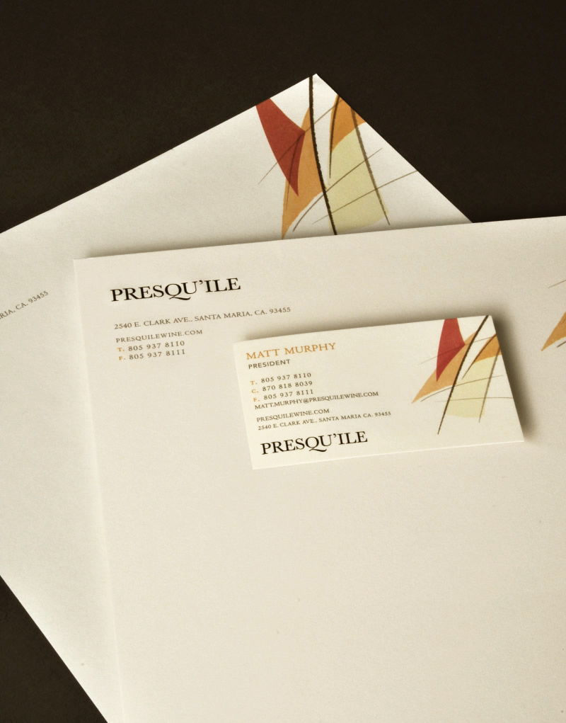 Presqu'ile Winery Stationery Design