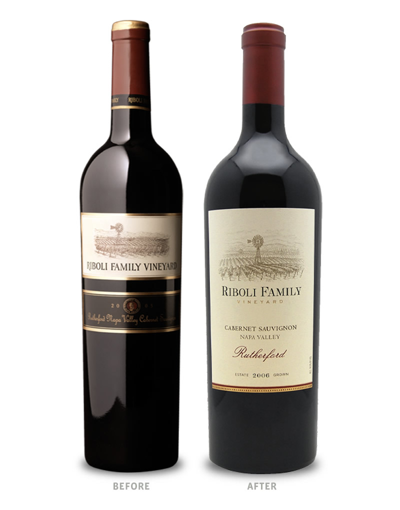 Riboli Family Vineyard Wine Packaging Before Redesign on Left & After on Right