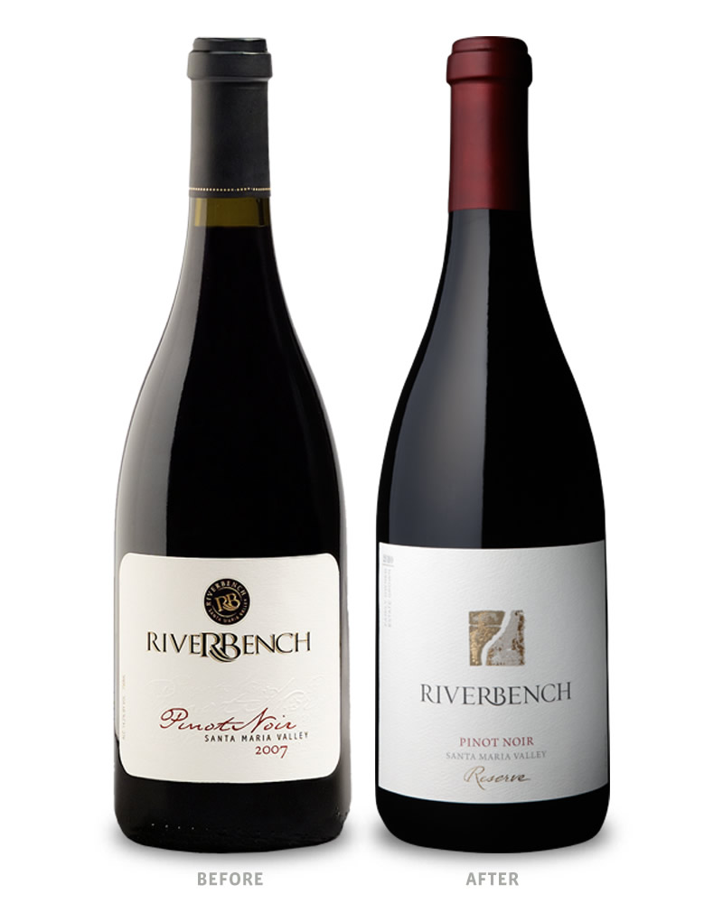 Riverbench Wine Packaging Before Redesign on Left & After on Right