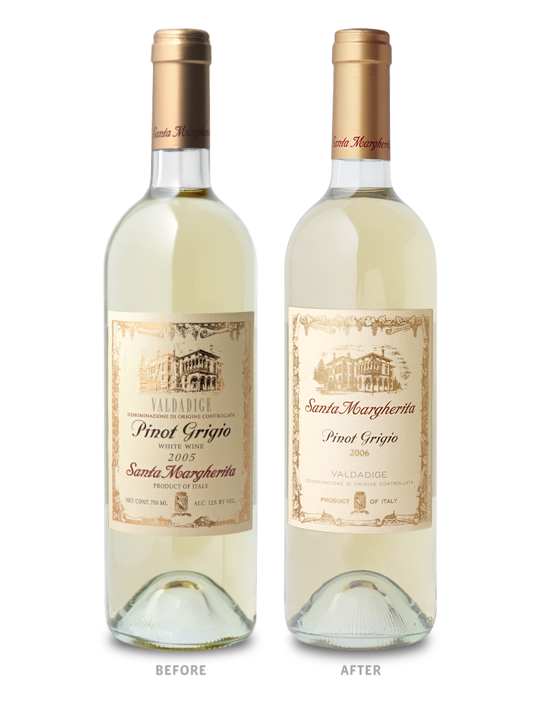 Santa Margherita Wine Packaging Before Redesign on Left & After on Right