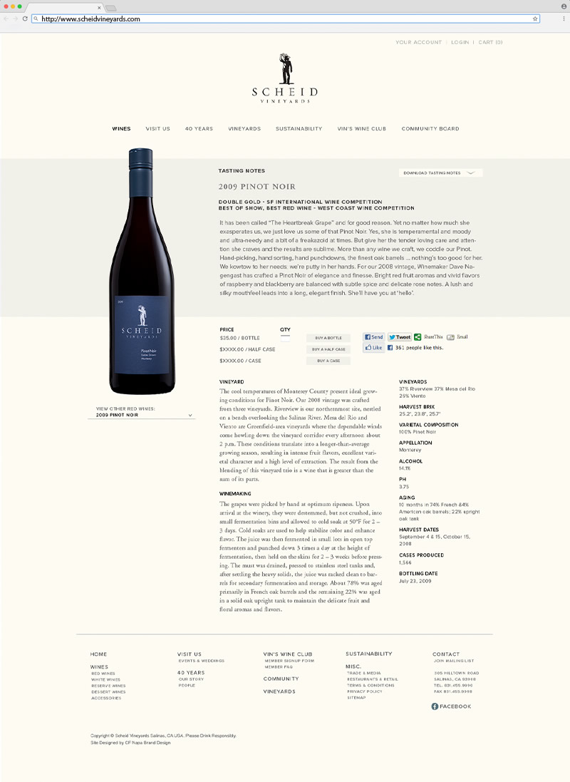 CF Napa Brand Design - Scheid Vineyards Winery Web Design