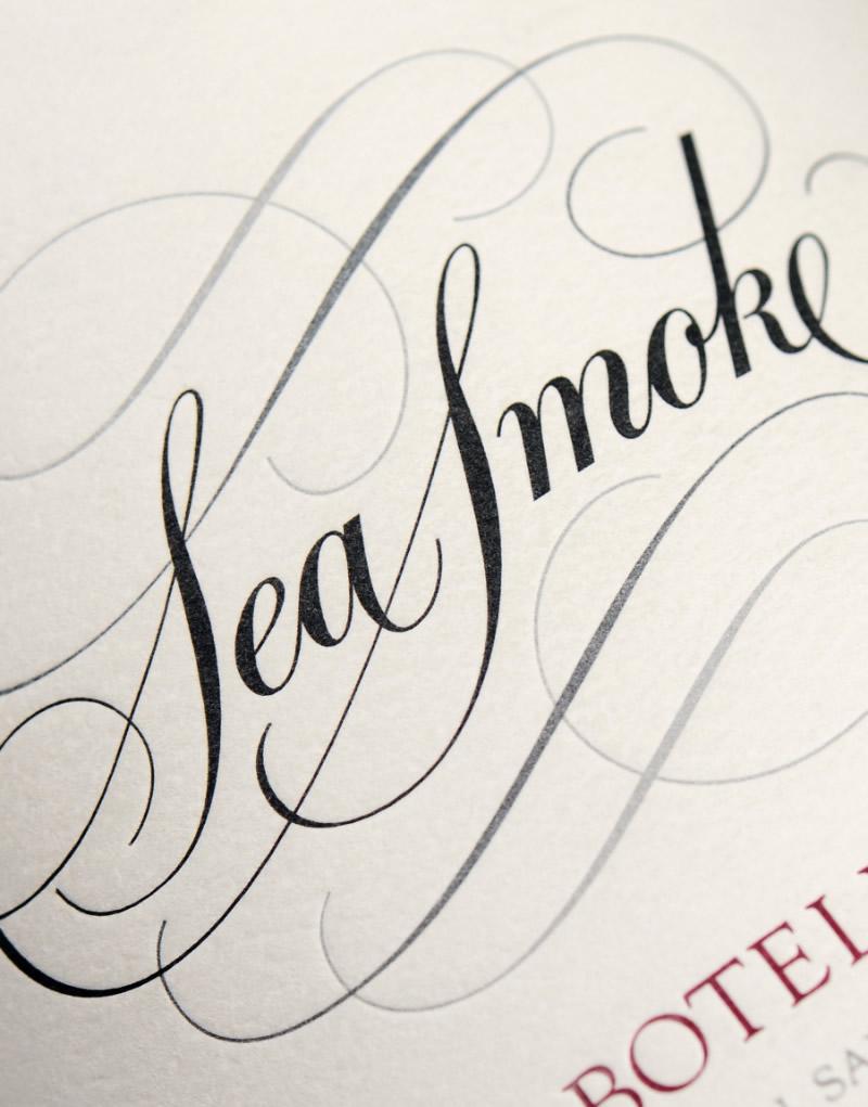 Sea Smoke Wine Packaging Design & Logo Label Detail
